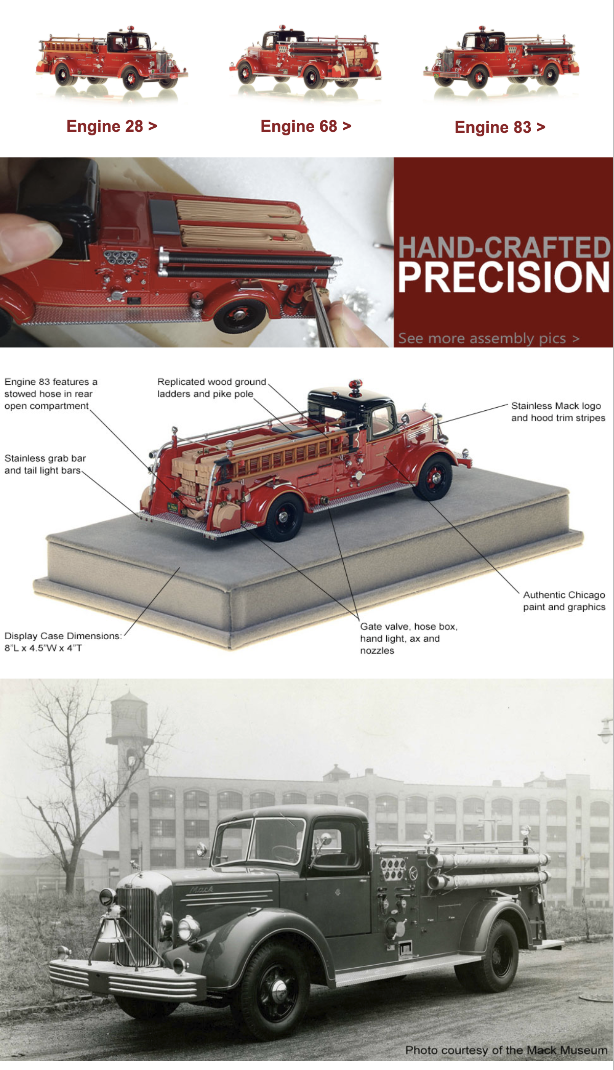 from Fire Replicas - Chicago FD die-cast model of 1948 Mack L sedan cab pumper