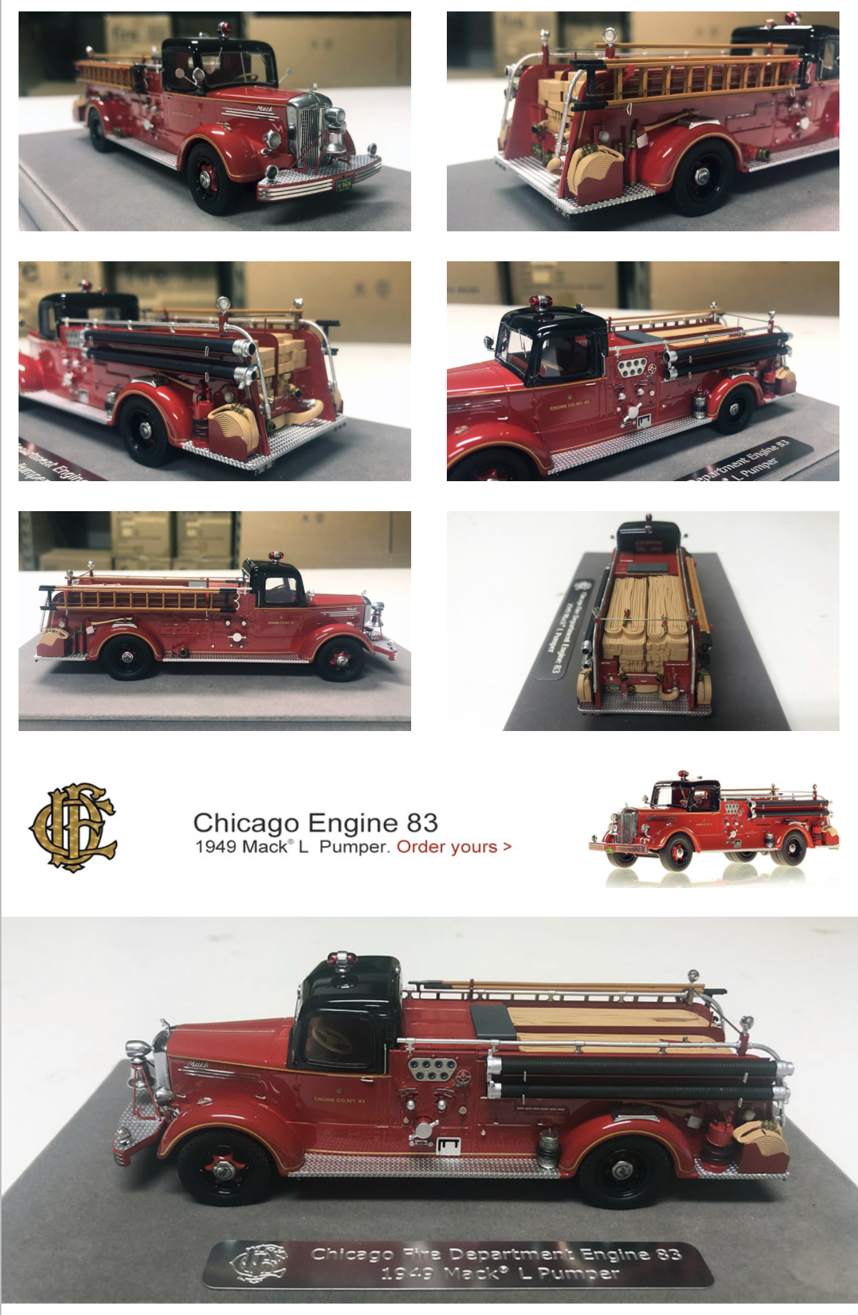 Chicago FD 1949 Mack L ire engine replica model from Fire Replicas