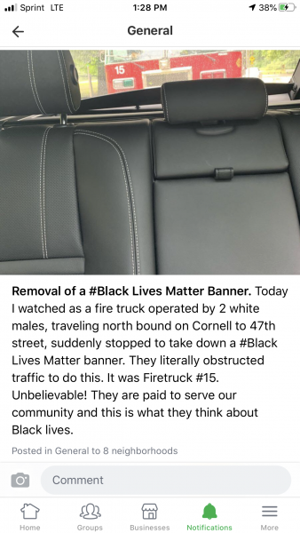 Facebook post claiming that Chicago firefighters removed a Black Lives Matter banner