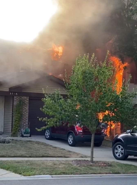 flames engulf townhouse in Wheeling