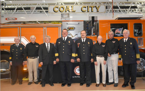 swearing in ceremony for new Coal City fire chiefs