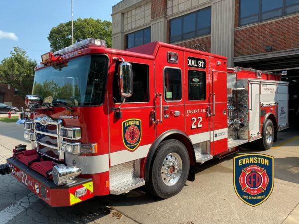 new Pierce fire engine in Evanston