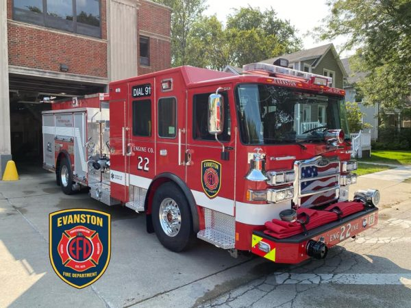 new Pierce fire engine in Evanston