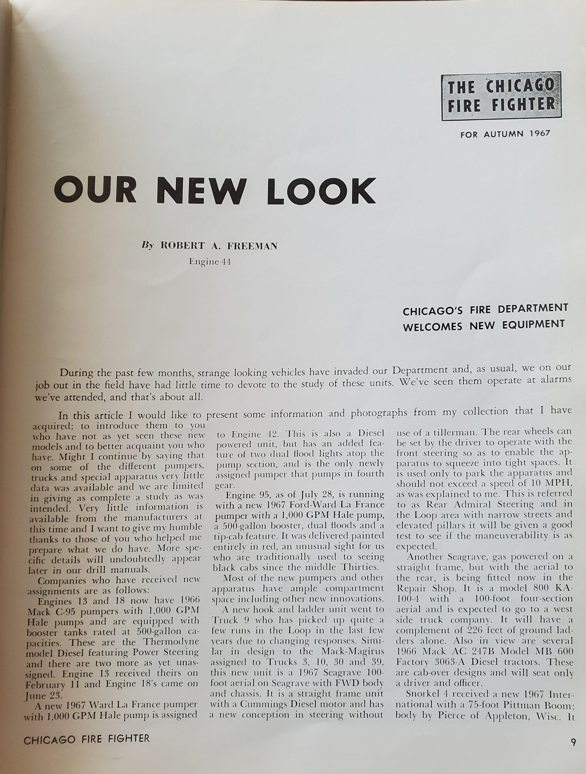 vintage Chicago Fire Fighter Magazine Autumn 1967