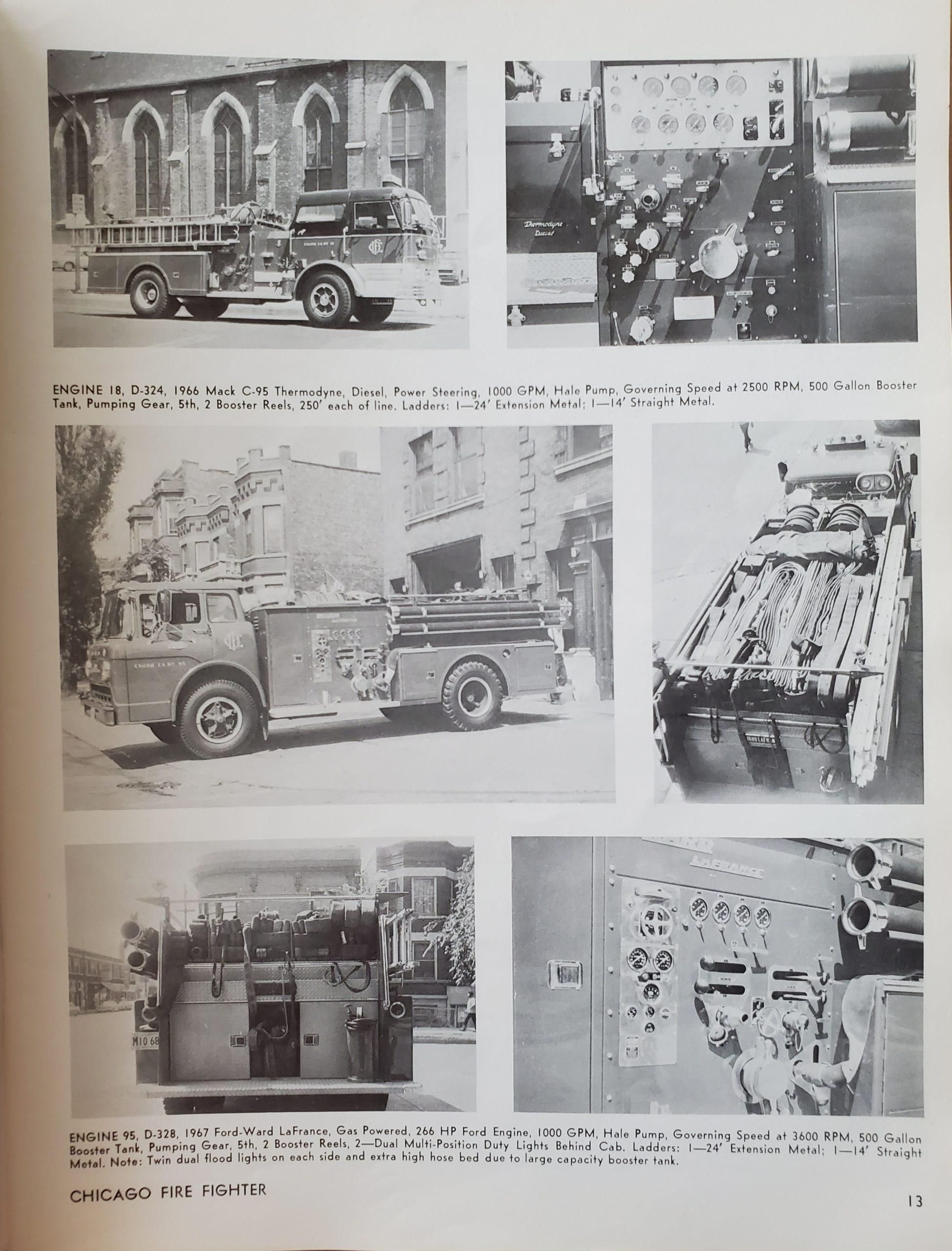 new Chicago fire trucks circa 1967