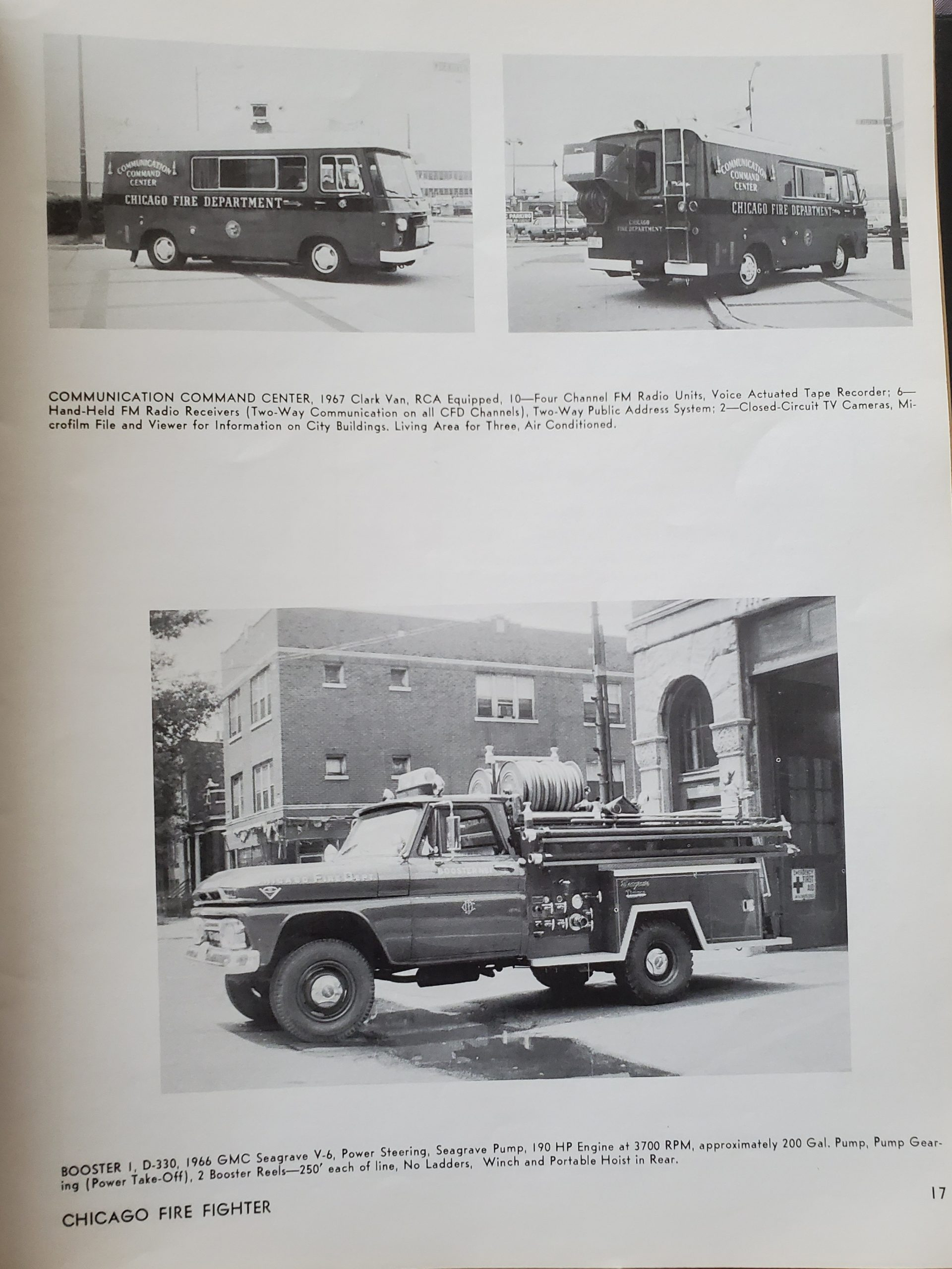 new Chicago fire trucks circa 1967