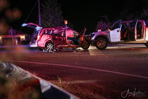 crash scene at nigh