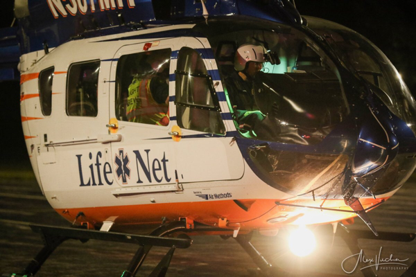 medical helicopter at crash site