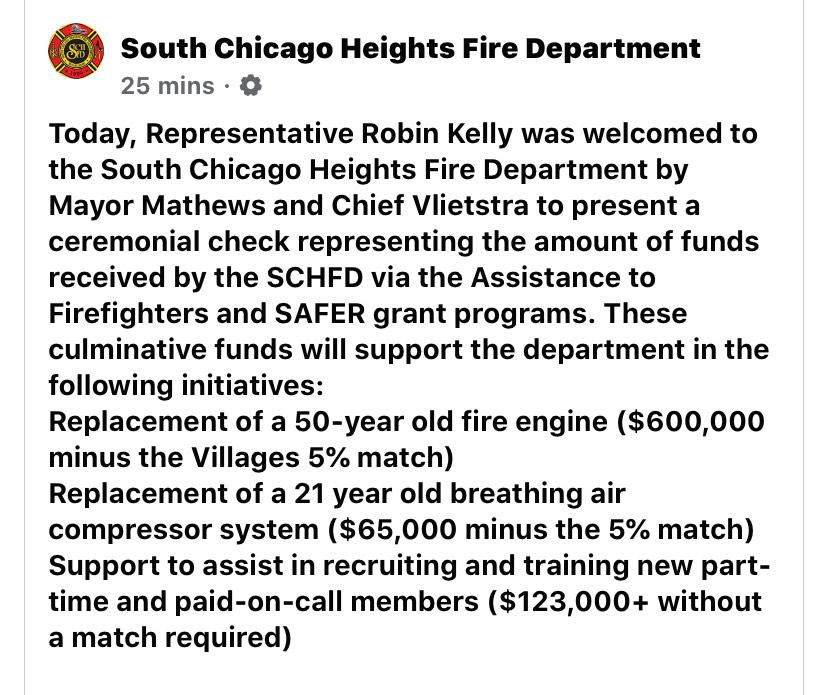 South Chicago Heights Fire Department receives FEMA grant for new fire engine