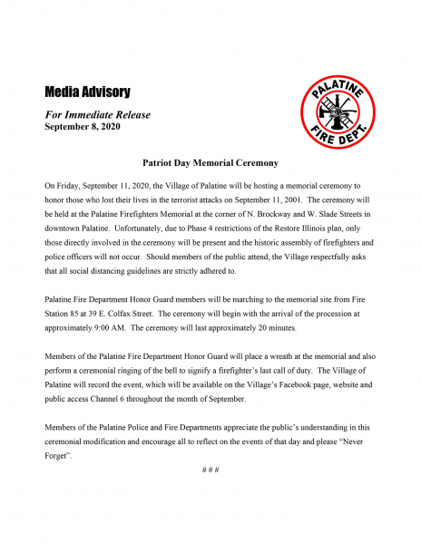 Palatine FD to host 9/11 Memorial Ceremony