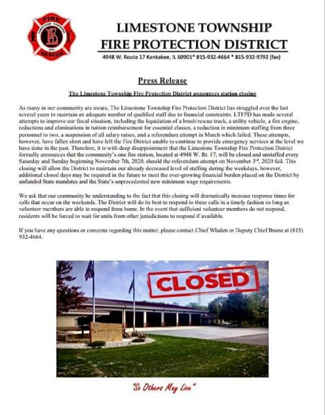 LIMESTONE TOWNSHIP FIRE PROTECTION DISTRICT ANNOUNCES CLOSING