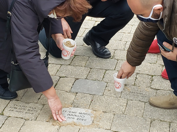 brick to honor the memory of fallen Chicago Firefighter/EMT Mario Araujo