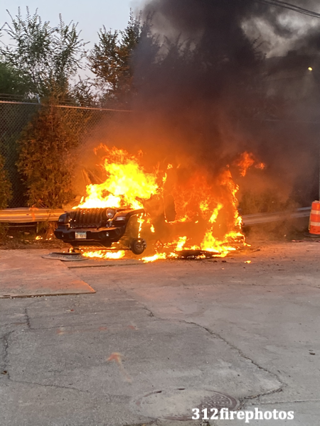car engulfed by flames