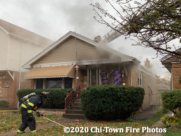 smoke from Chicago bungalow style house