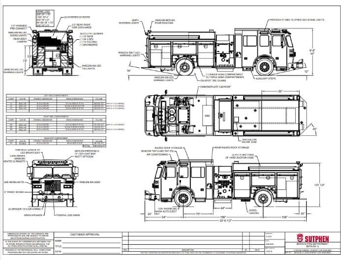 drawing of new Sutphen pumper for the Batavia Fire Department
