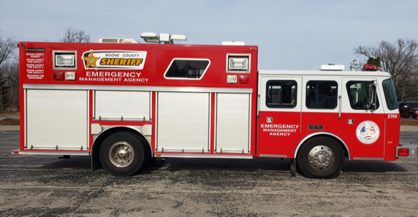 former Elmhurst fire truck now serving as the Boone County Sheriff's Office new Emergency Management Agency's Air Truck
