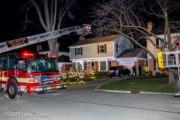 house fire scene in Arlington Heights