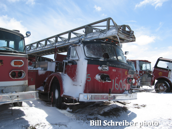 American LaFrance fire truck in scrap yard