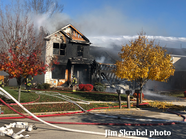 house destroyed by fire in Shorewood IL