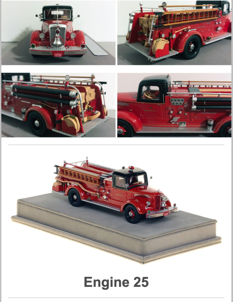 Diecast model of 1949 Chicago FD Mack fire engine