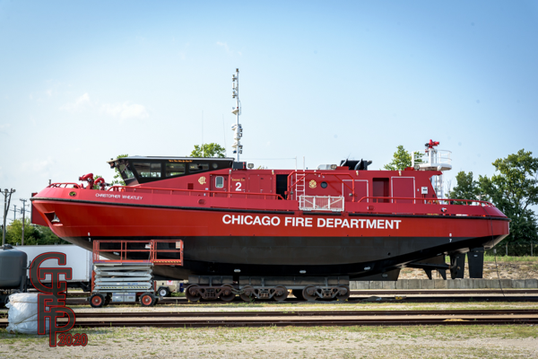 The Chicago FD Engine 2 - Fire Boat Christopher Wheatley in dry dock