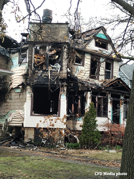 aftermath of house where two people died in a fire