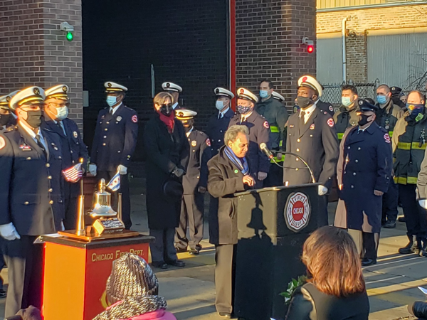 Chicago Mayor Lori Lightfoot commemorates the anniversary of firefighters that died in the line of duty