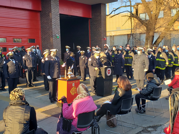 Chicago firefighters and officials commemorates the anniversary of firefighters that died in the line of duty