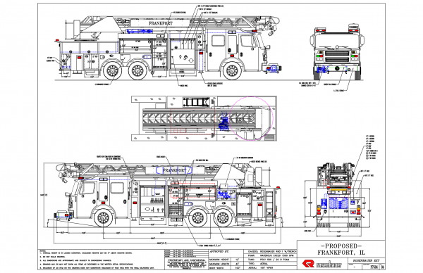drawing of Rosenbauer Commander 109' Viper quint for the Frankfort FPD