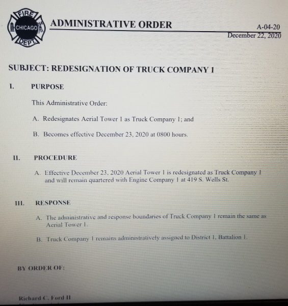 Chicago FD Administrative Order A-04-20 predesignates Aerial Tower 1 as Truck Company 1 12/23/20