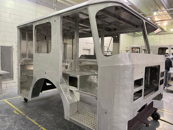 fire truck cab being fabricated
