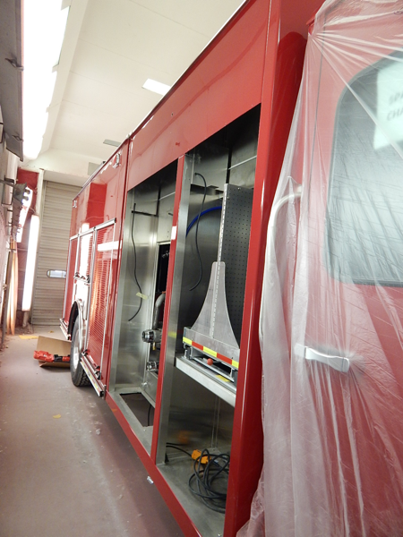 new fire engine in paint booth