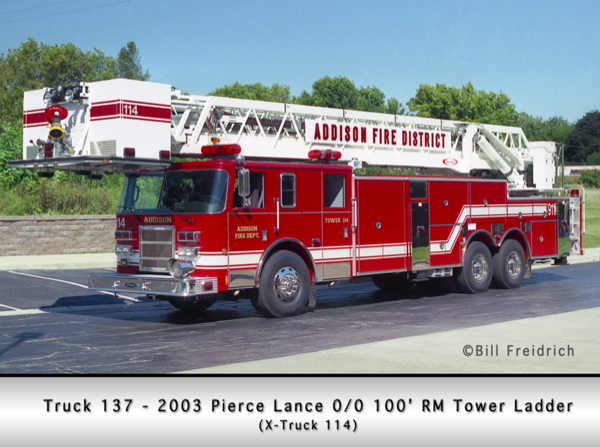 2003 Pierce Lance 100' tower ladder