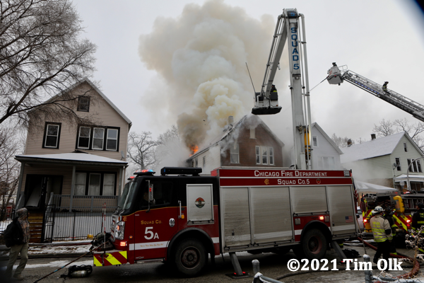 winter house fire in Chicago