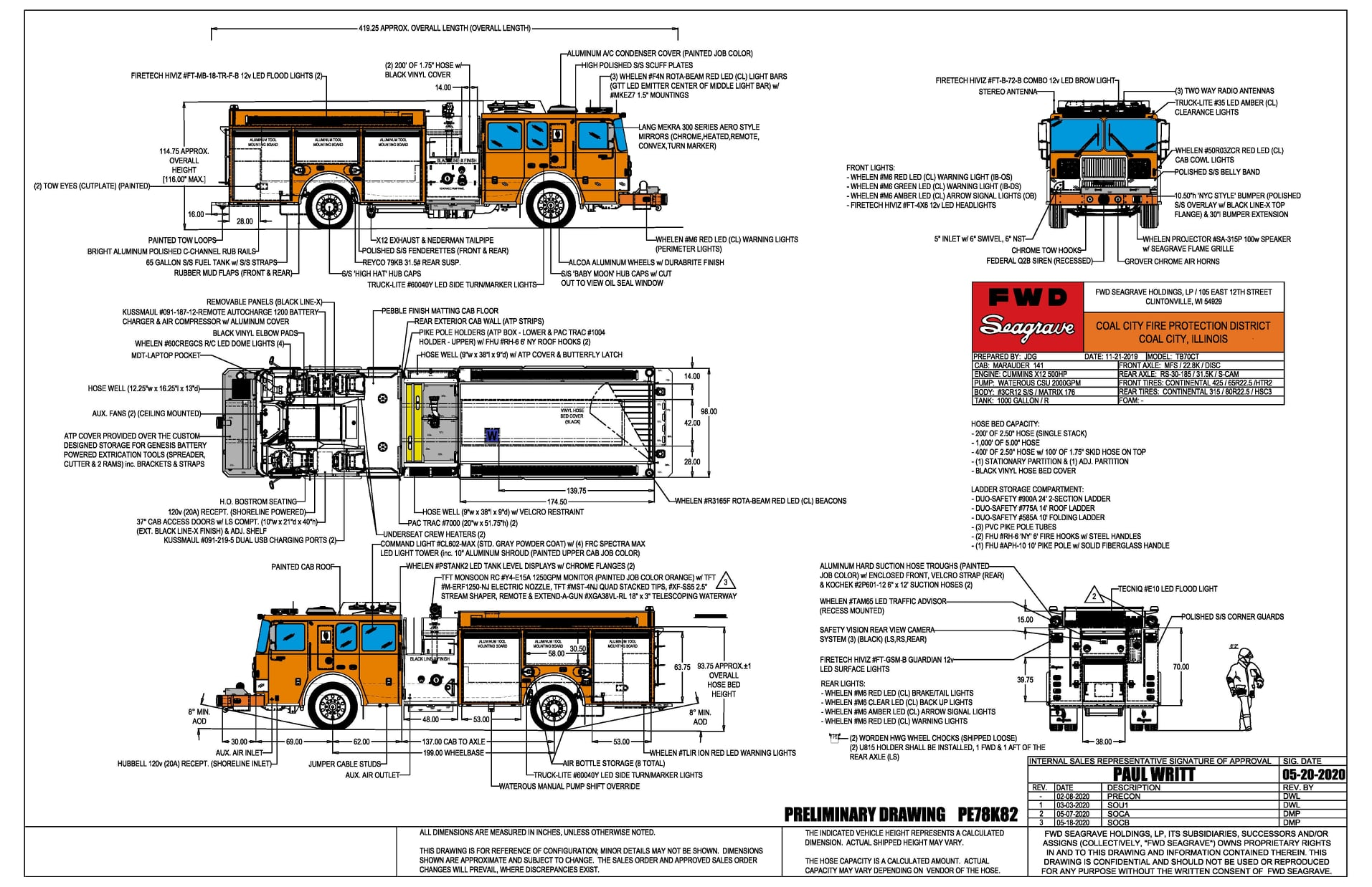 drawing of Seagrave Marauder fire engine for the Coal City Fire Protection District