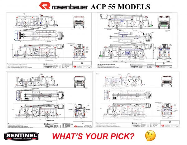 drawings of different styles of the Rosenbauer ACP-55 platform aerial