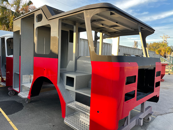 E-ONE fire truck cab after being painted