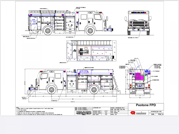 drawing of Rosenbauer Commander rescue pumper for the Peotone FPD in Illinois
