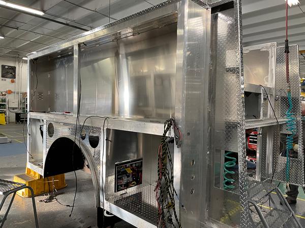 aluminum E-ONE fire truck body being built