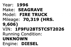 Surplus Chicago FD 1996 Seagrave 100' ladder truck for sale