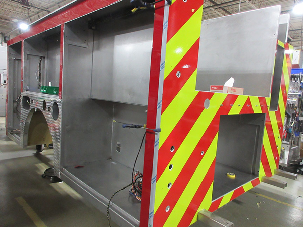 E-ONE stainless steel fire engine being built