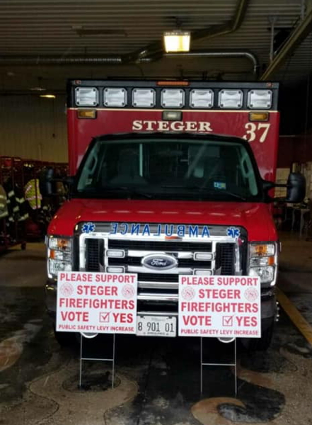 Steger Fire Department Firefighters ask for community support of a public safety tax levy increase