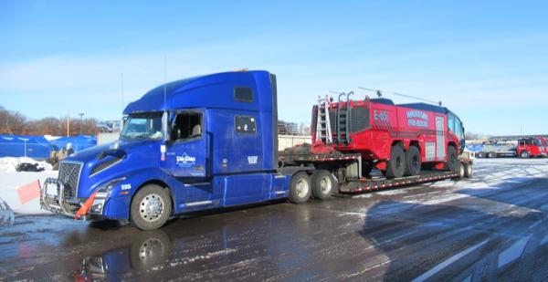 Rosenbauer Panther ARFF on low-boy trailer