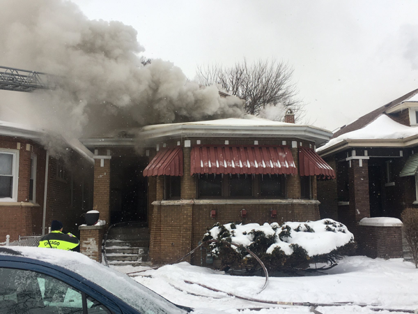 fire engulfs Chicago bungalow