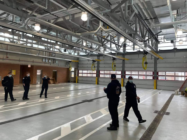 apparatus bay floor in new Chicago firehouse