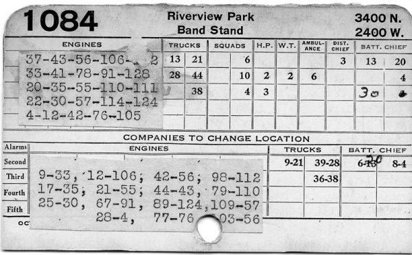 vintage Chicago FD response card for Riverview Park
