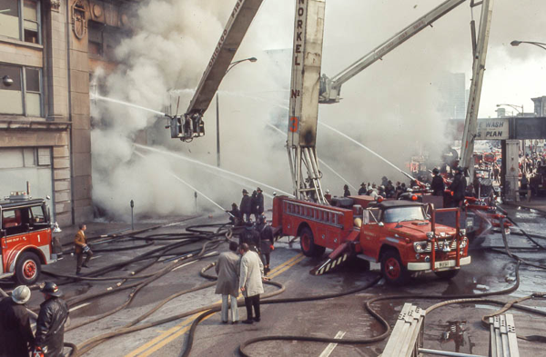 vintage Chicago FD Snorkels at fire scene