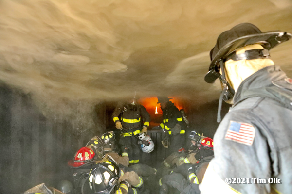 flashover training prop with live fire to train Firefighters