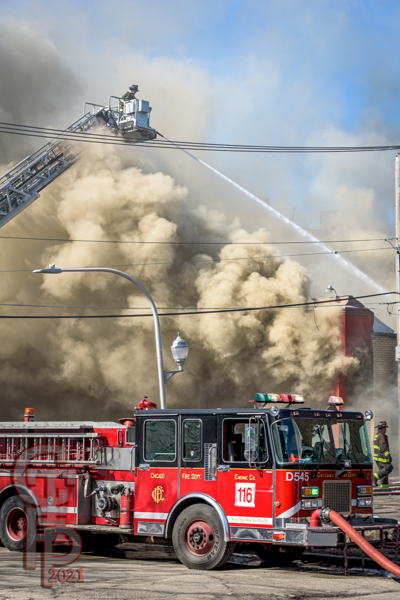 Chicago Firefighters battle a commercial building fire