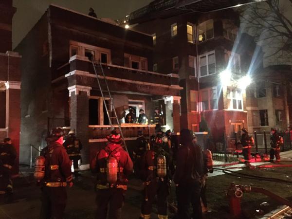 house fire scene in Chicago